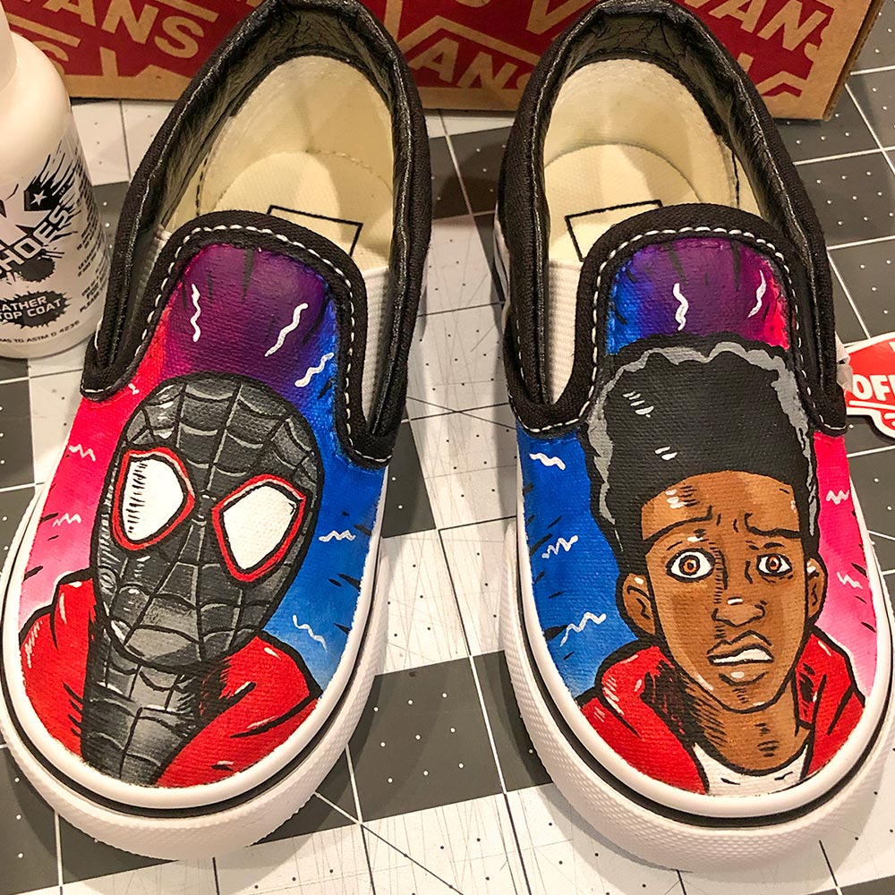 Custom Van Shoes by Orlando Ayala Spiderverse Miles Morales