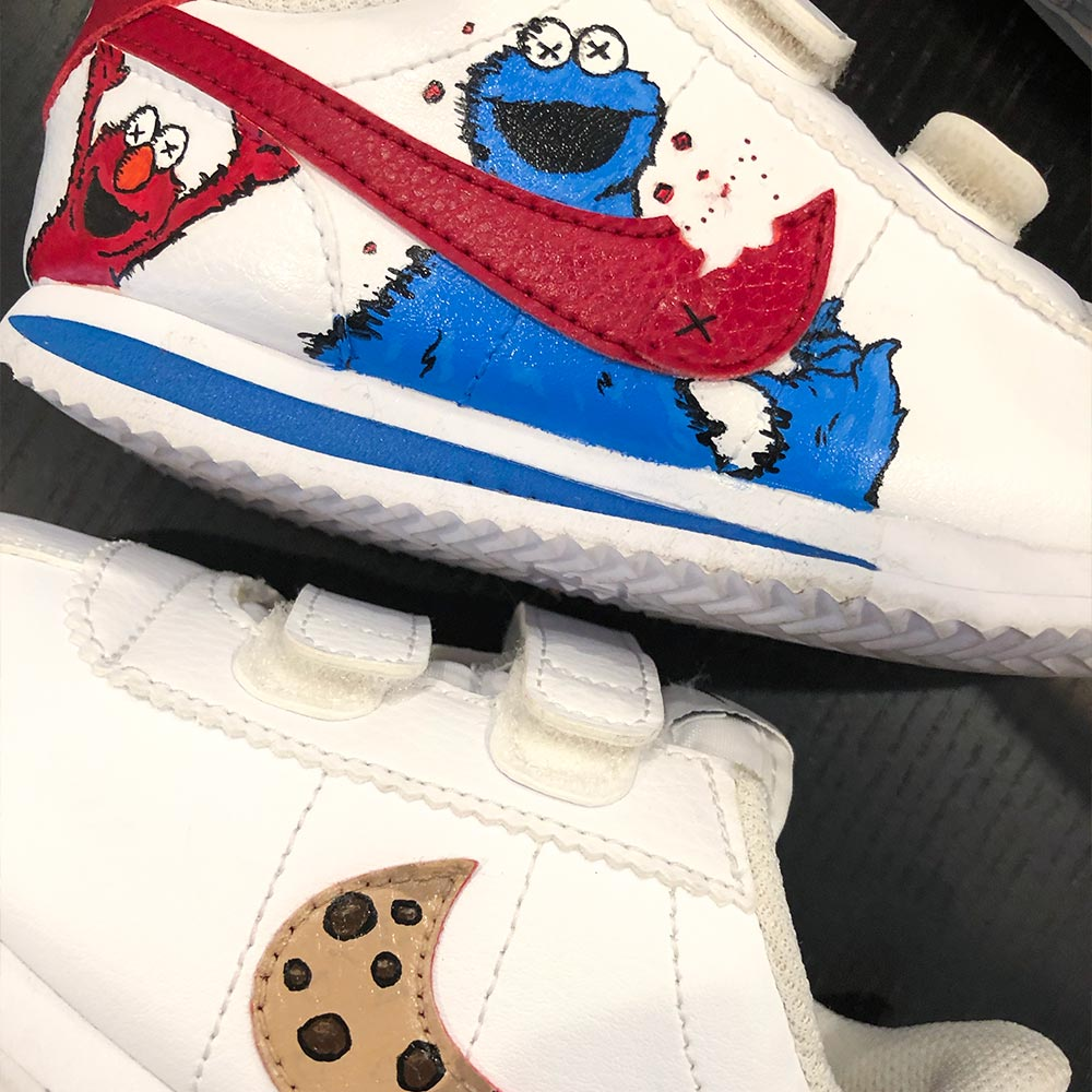 Custom Van Shoes by Orlando Ayala Cookie Monster Elmo KWAS